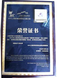 2010上海世博会民营企业联合馆荣誉证书